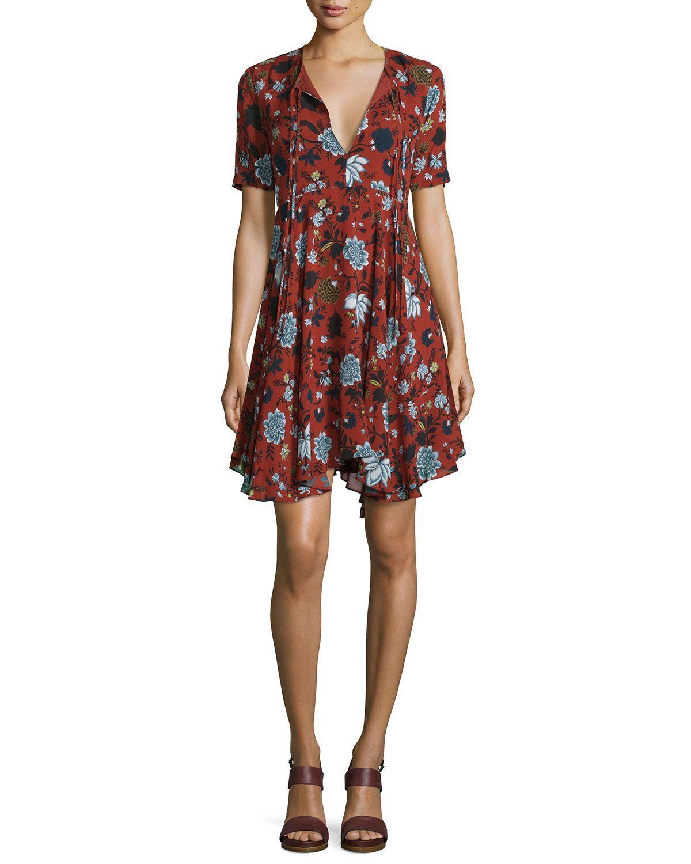 Sosta Floral Silk Tie-Front Dress, Red/Blue/Multicolor, Women's, Size: 0, Red/Blue Multi - A.L.C.