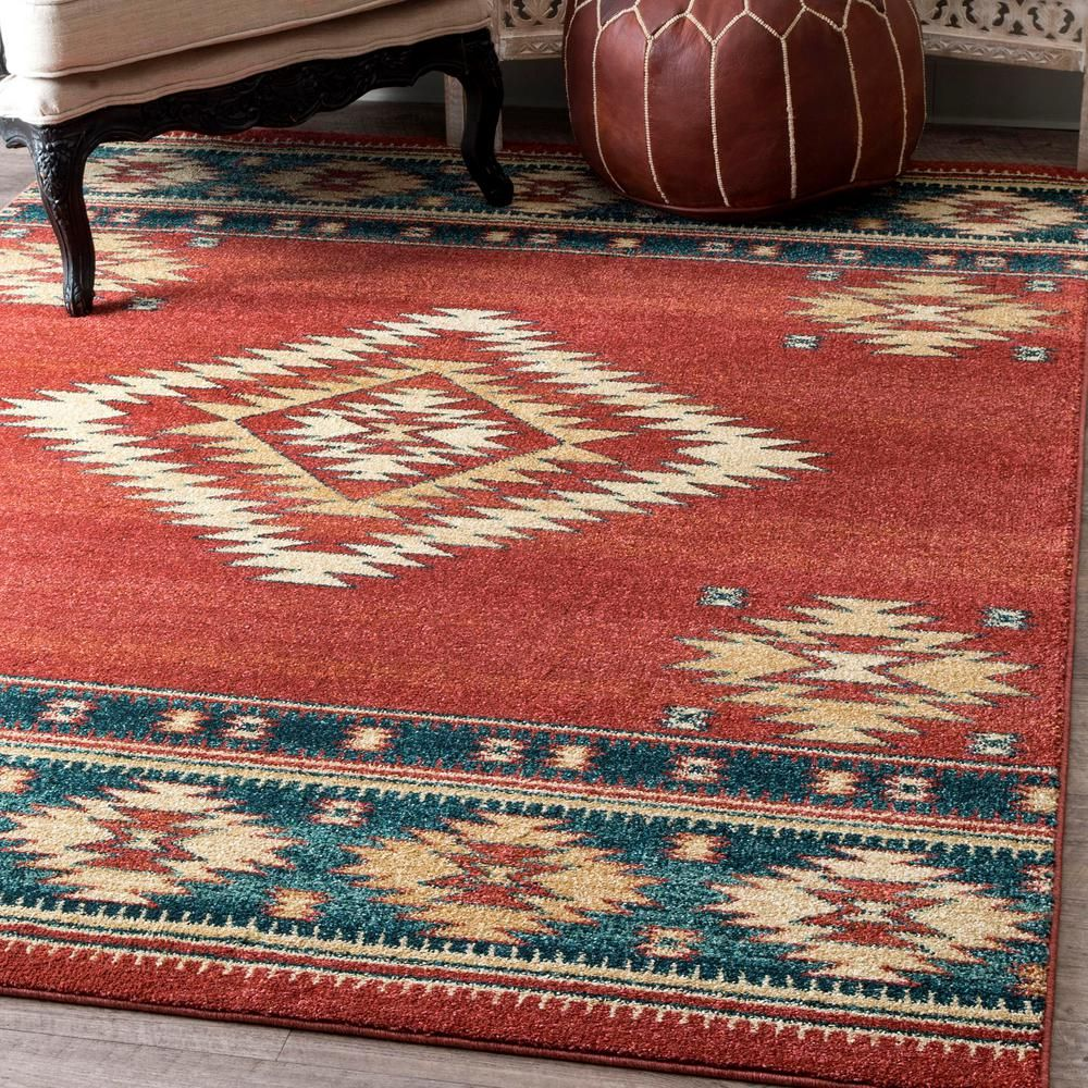 Nuloom Margene Tribal Diamond Red 5 Ft X 8 Ft Area Rug Rzin09b 5075 The Home Depot In 2020 Solid Area Rugs Area Rugs Red Area Rug