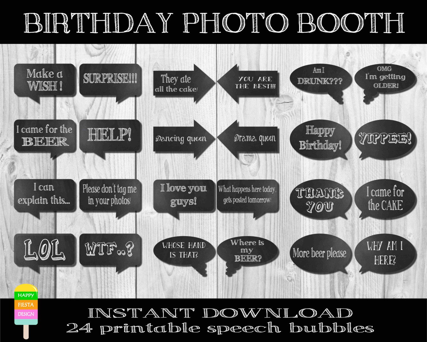 Instant download birthday photo booth props speech for Photo booth speech bubble template