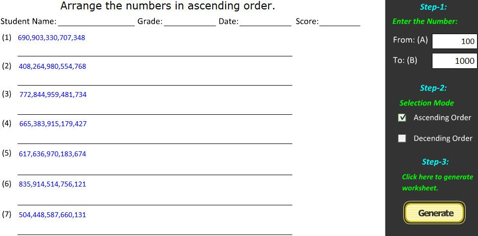 Ascending Order Descending Order Math Worksheet Creator Math Worksheets 1st Grade Worksheets Worksheets