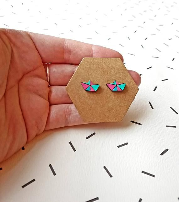 Photo of Colourful Boat Earring, Geometric Stud,Laser Cut Wooden, Origami Boat Colourful Earrings, Wooden Laser Cut, Boat Jewellery, Wooden Earrings