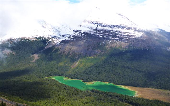 Download wallpapers Calling Lake, mountain lake, Alberta