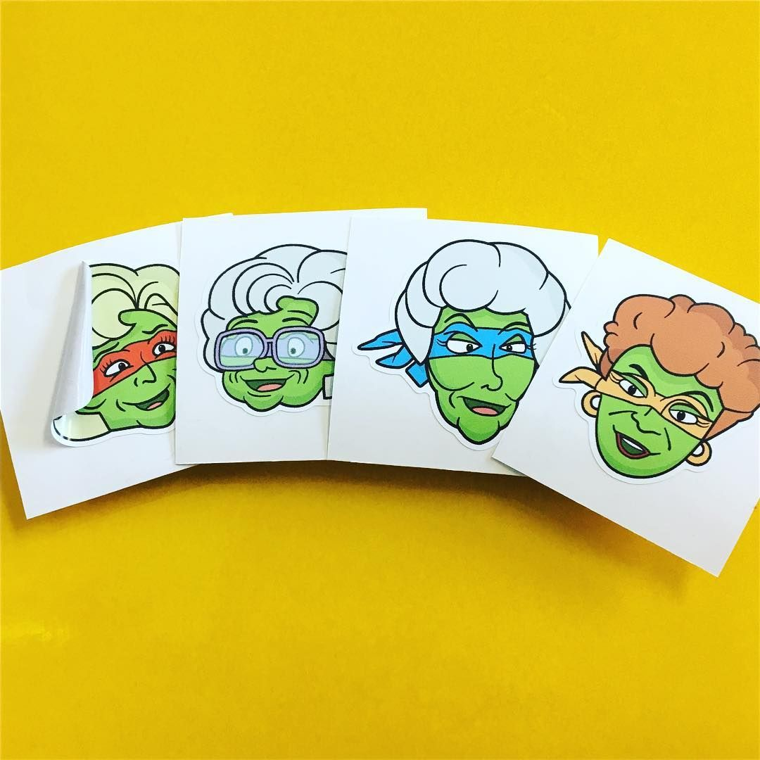Custom stickers made for the talented dwillustrate the golden mutant ninja turtles make sure