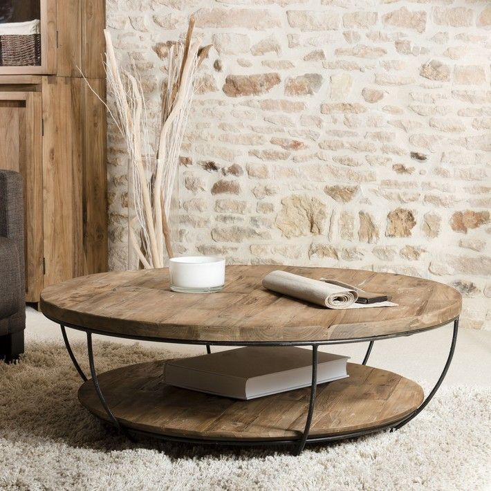 Optez Pour Le Style Industriel Avec Cette Table De Salon Ronde En Bois Massif Et Metal Noir Composee De Table De Salon Table De Salon Ronde Table Basse Ronde