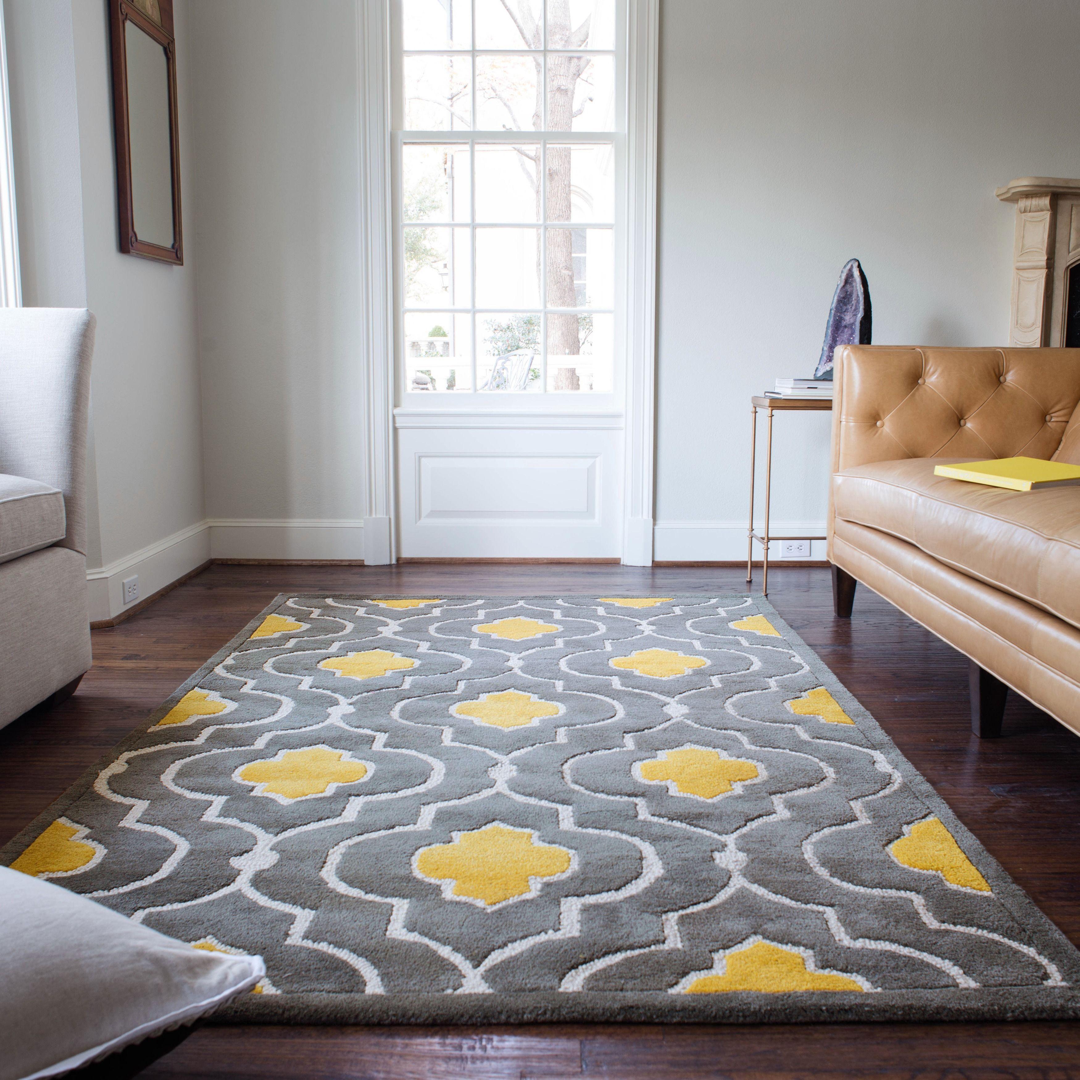 Handtufted Logan Grey Gold Wool Rug 9'3 X 13'  Logan Wool Adorable Grey Bedroom Rug Inspiration