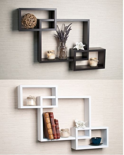 Intersecting Espresso Wall Shelf