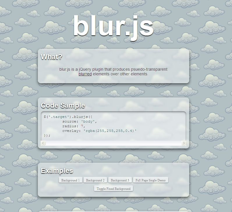 blur.js is a jQuery plugin that produces psuedo-transparent  blurred elements over other elements.