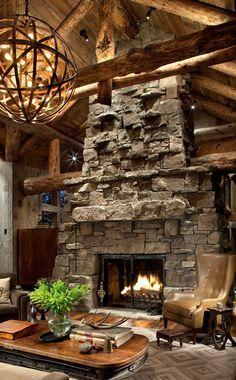 Rustic Living Room, love the lighting too!