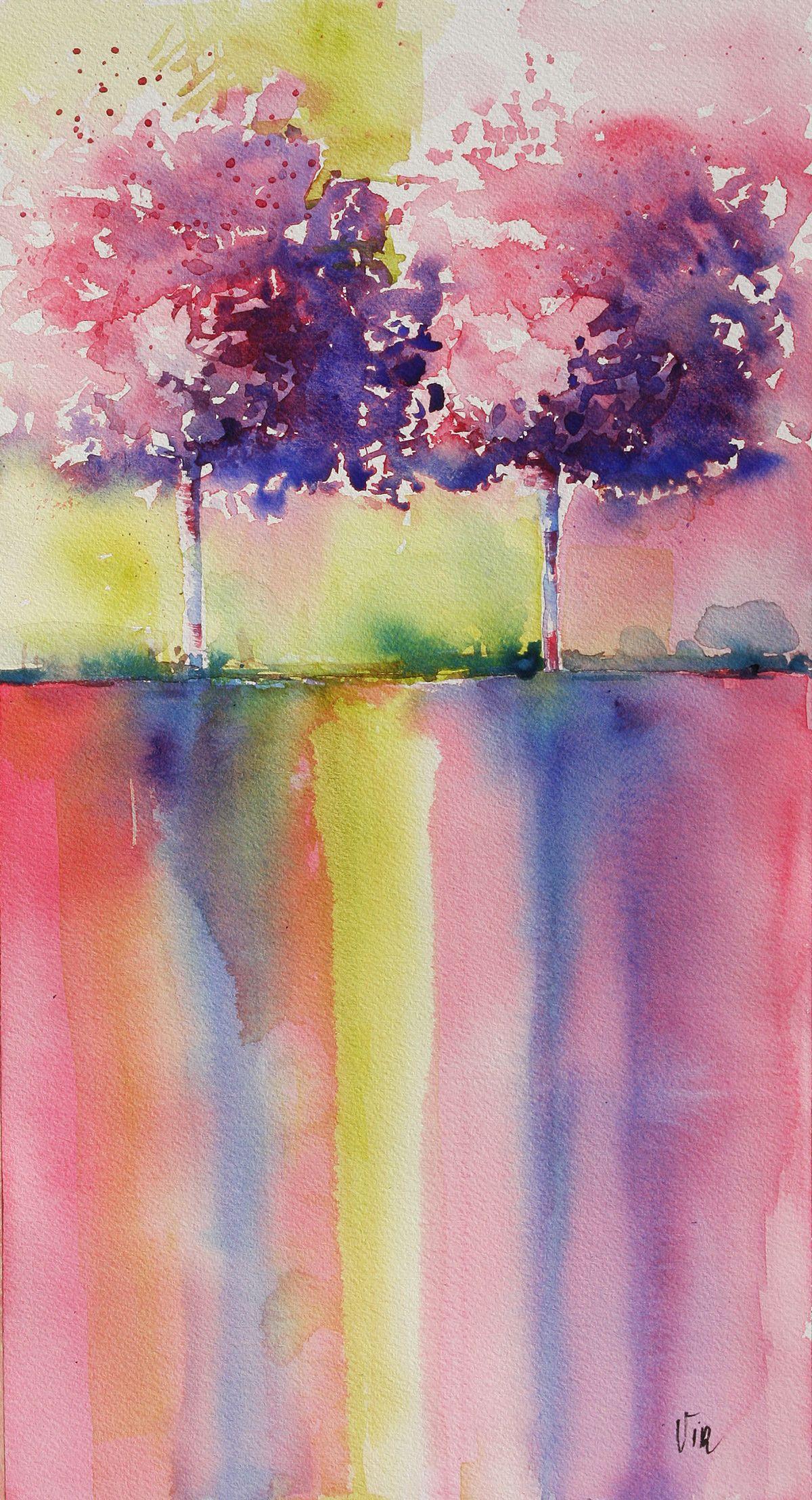 Arbres Reflechis Virginie Schroeder Aquarelles Peintures Sur