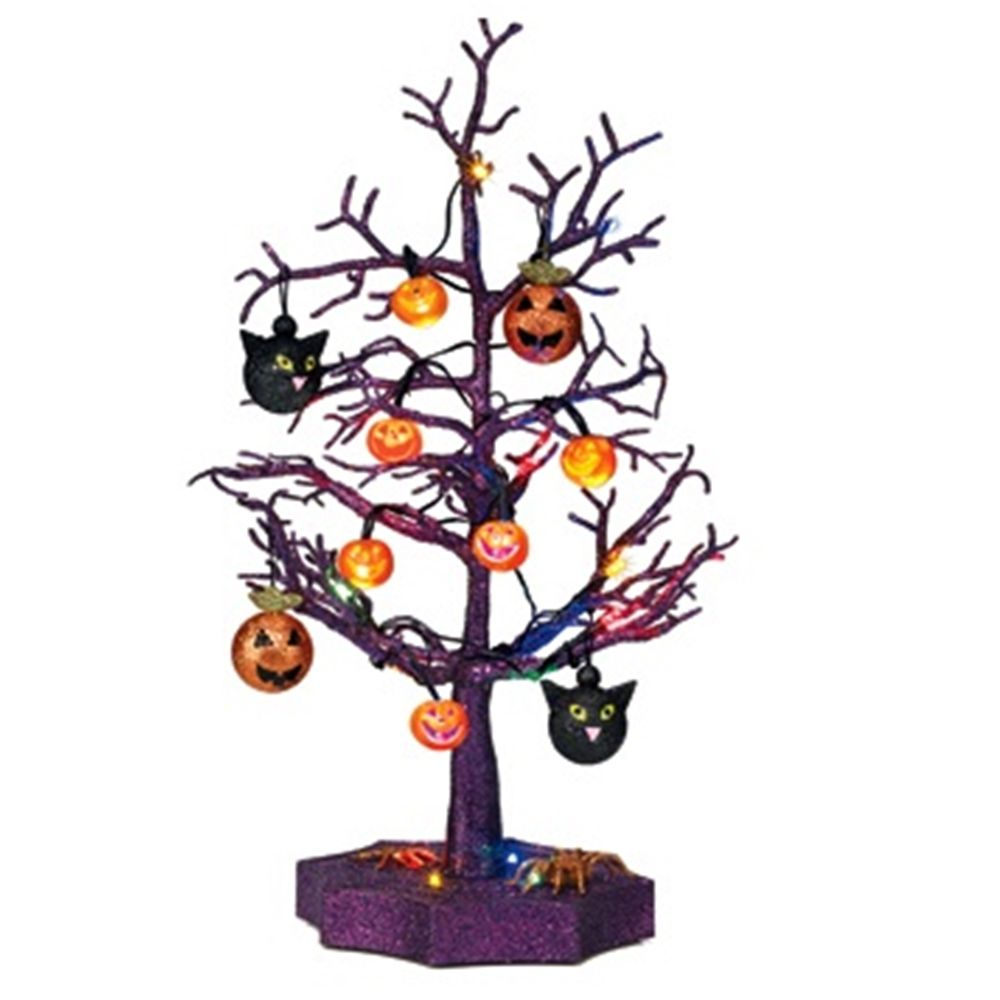 Sparkling Color Changing Halloween Tree with Ornaments | Trees ...