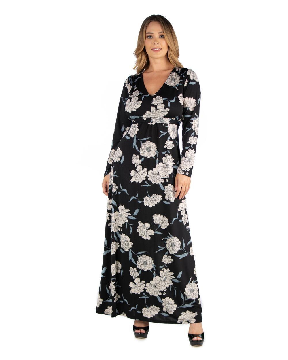 24seven Comfort Apparel Women S Plus Size Floral Size Maxi Dress 1x Rayon Plus Size Long Dresses Plus Size Maxi Dresses Plus Size Dresses Uk [ 1250 x 1000 Pixel ]