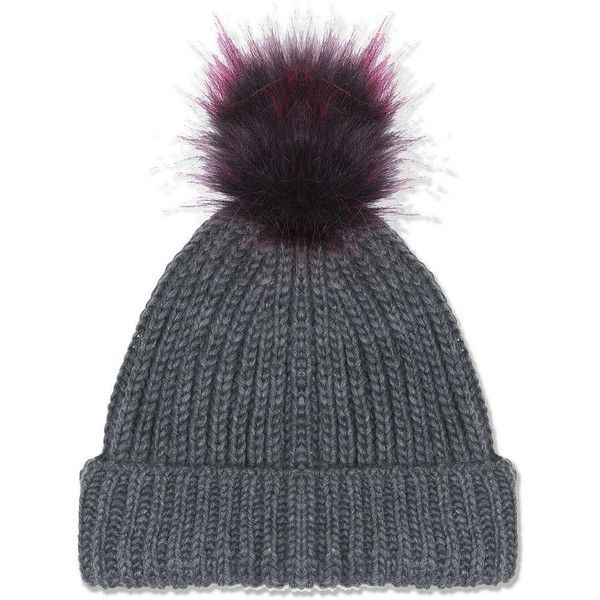 TopShop Grey Beanie With Purple Pom ($26) ❤ liked on Polyvore featuring accessories, hats, pom pom hat, beanie hat, purple beanie, pompom hat and grey beanie hat