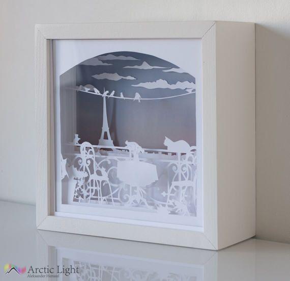 Balkon shadowbox diorama leuchtkasten paperart - Leuchtkasten deko ...