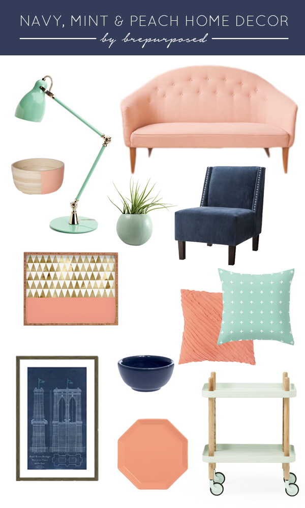 Navy Mint And Peach Home Decor Brepurposed Home Decor Home Decor Colors Home Decor Bedroom #peach #living #room #ideas