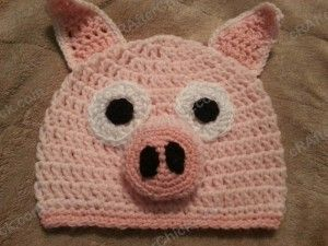 Three Little Pig Storytime Crochet Beanie Pattern Laying Flat Not Worn - add a diaper cover with a curly tail and this would be adorable