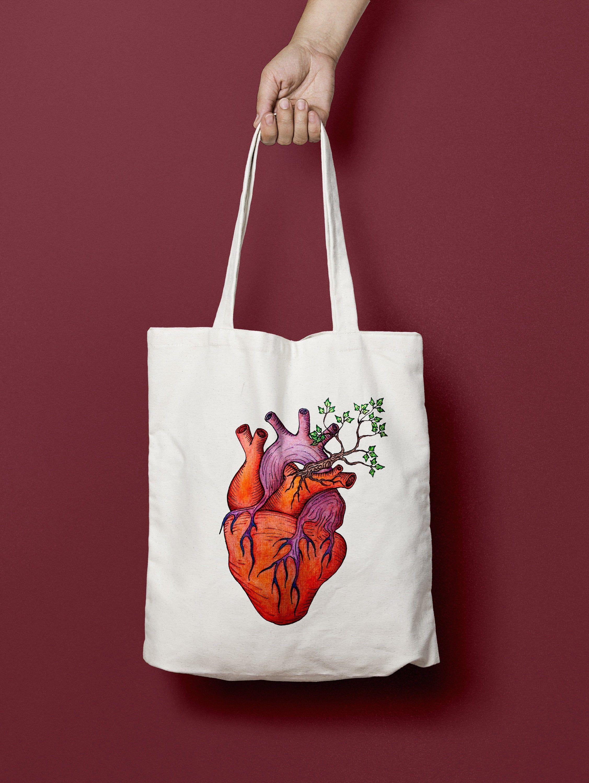 Love Grows Tote Heart Watercolor Real Heart Tote Bag True Love Tote Valentines Gift Nature Lover Bag Watercolor Tree Vital Organ Art Con Imagenes Bolsas De Tela Decoradas Bolsas De Tela