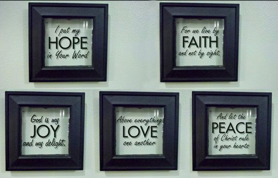 floating frames love peace hope joy or faith scripture via etsy