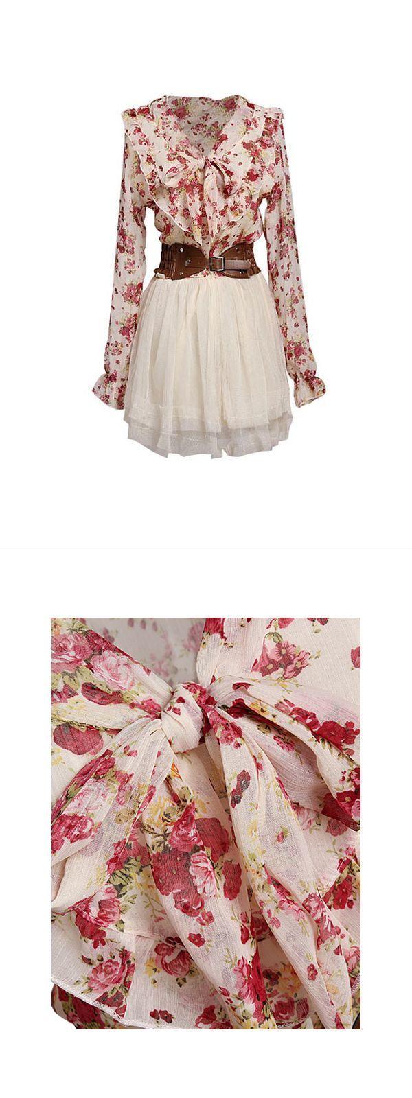 Floral dresses on sale long sleeve bowknot waist lace flower