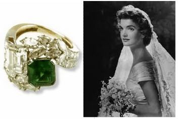 Charmant Jpg Jackie Bouvier Was Presented With A Ring Featuring A Carat Square Cut  Diamond And Carat Emerald With Tapered Baguettes By Van Cleef U0026 Arpels From  John ...
