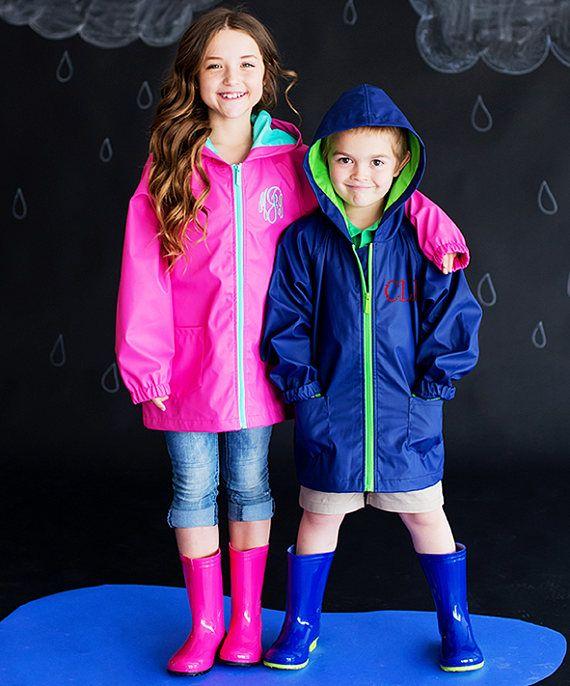Monogrammed Rain Jacket For Kids Girls Rain Jacket Boys Rain Kids Rain Jackets Monogrammed Rain Jacket Rain Jacket