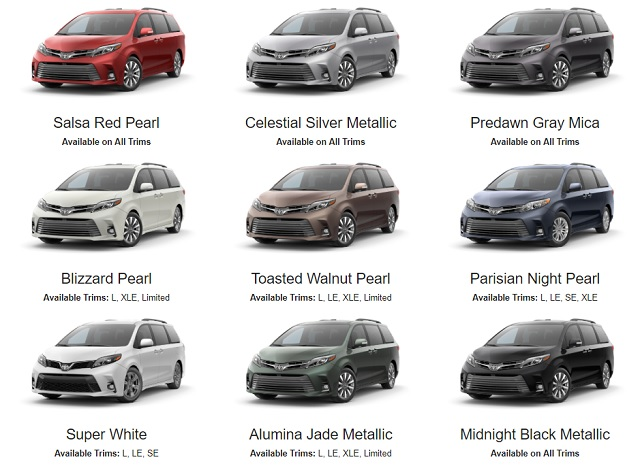 Here Are 2020 Toyota Sienna Colors Exterior And Interior Toyota Sienna Toyota Sienna Interior Toyota