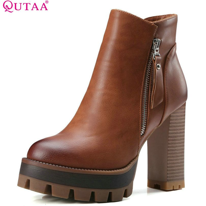 efdc72b34 QUTAA Gray 2017 Round Toe PU Leather Western Style Women Shoes Square High  Heel Ankle Boot