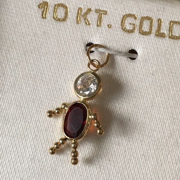 Birthstone Babies Boy Charm January 10k Gold New Birthstone Pendant Pendant Jewelry