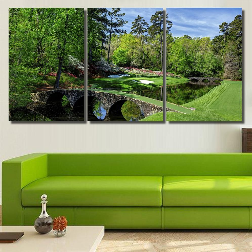 Augusta Masters Golf Golfing Course Hole Water Nature Canvas Art Wal Wikicanvasart Nature Canvas Art Canvas Art Wall Decor Canvas Art