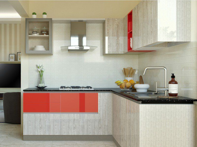 Classic Blue Kitchen India   HomeLane   L shaped modular ...