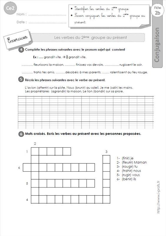 Image Ce2 Les Verbes Du 2 Me Groupe Au Present Exercices Ce2 Scolarite Verbe
