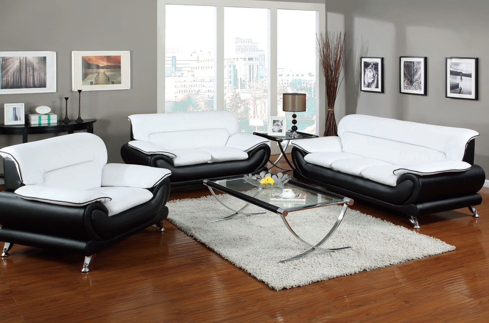 Orel Contemporary White Black Bonded Leather Wood Living Room Sets ...
