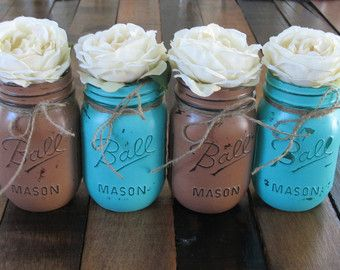 Decorative Mason Jars For Sale Turquoise And Brown Mason Jars  Rustic Wedding Decorations  Home
