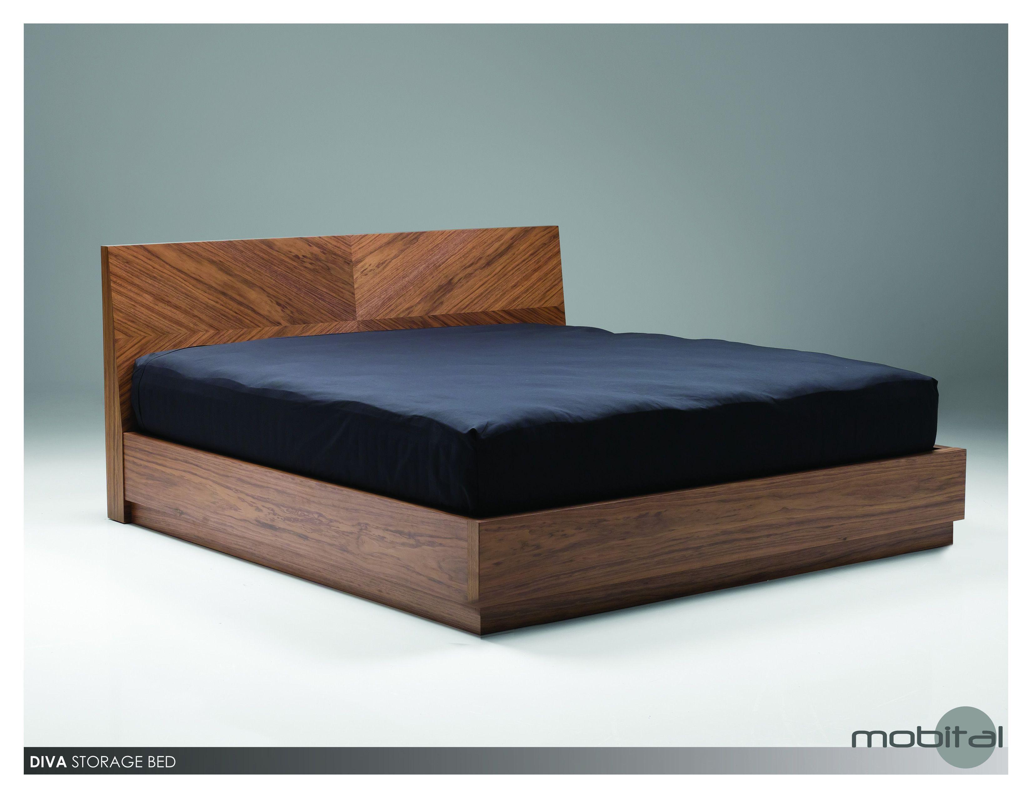 Diva Storage Bed King Wood Slats (Walnut)