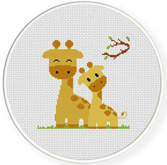 Giraffe Mom and Baby Cross Stitch Pattern | bordados 2018 ...