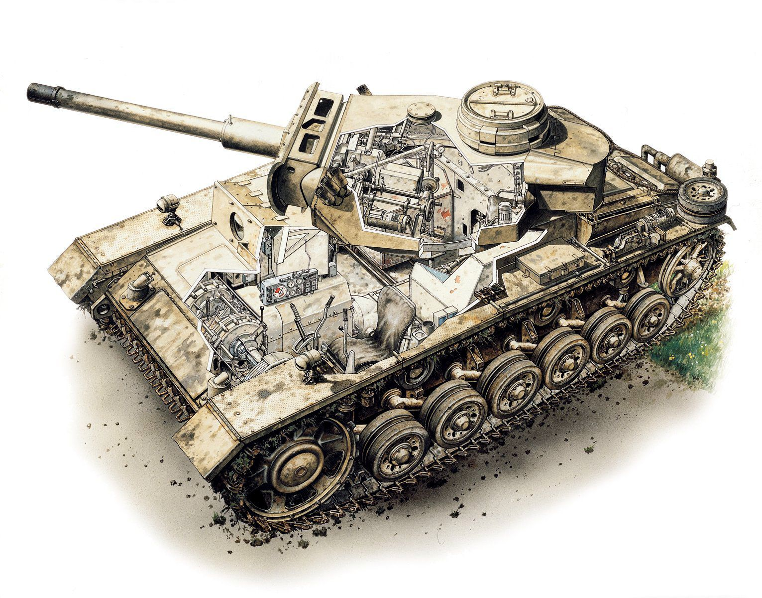 Flammpanzer III o Panzerkampfwagen III (FI) (Sd.Kfz. 142/3); Italia, 1943. Peter Sarson. http://www.elgrancapitan.org/foro/viewtopic.php?f=12&t=17519&p=909170#p909143