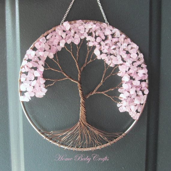 Cherry tree wire tree of life wall hanging in rose quartz sun catcher rose quartz love in - Attrape reve arbre ...