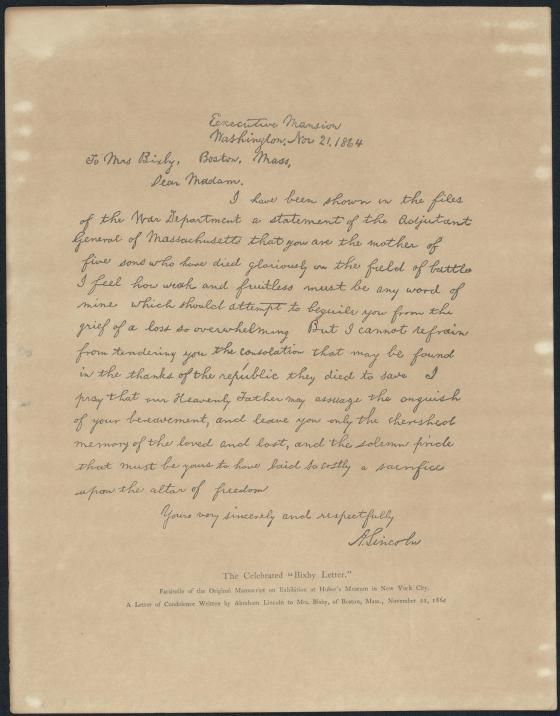 the bixby letter