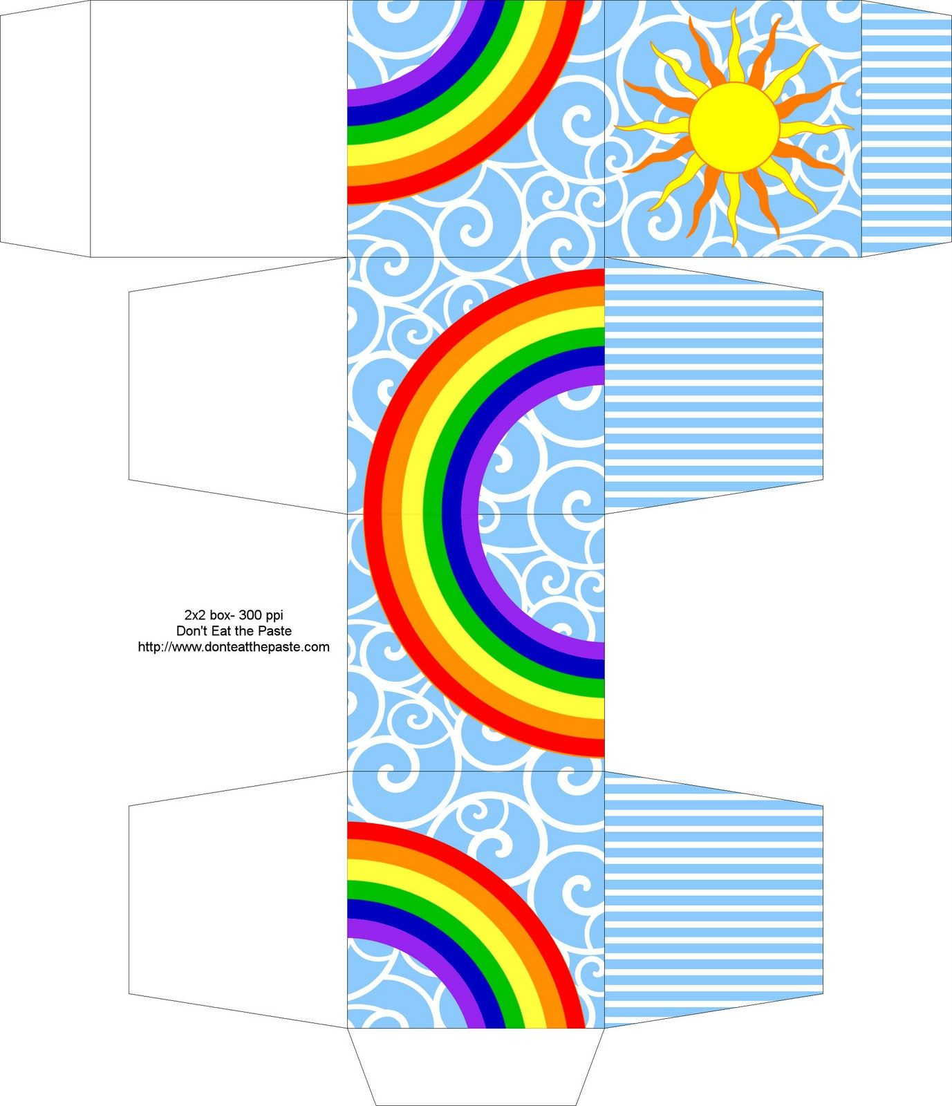 rainbow box  sun   spiral   free box templates to print for gift boxes  wedding favours  kids