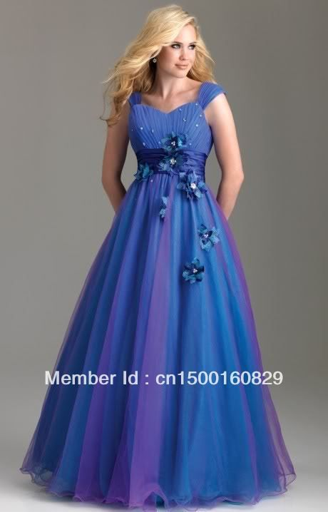 Modest Cap Sleeves Colorful Organza Formal Evening Gowns Girls ...