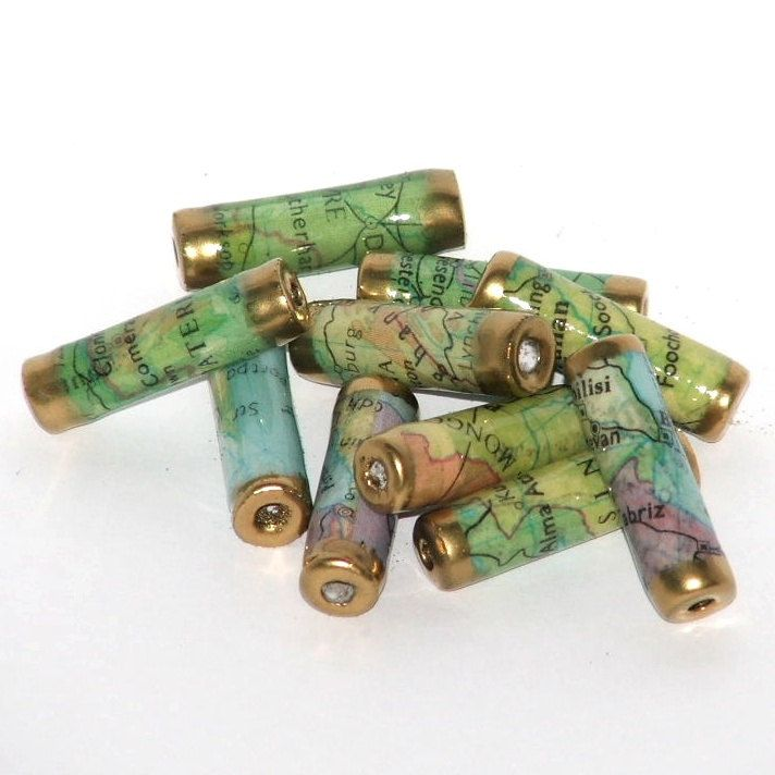 customized beads Paper beads recycled paper beads pick your state