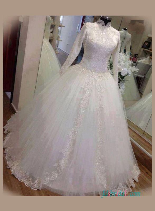 Modest High Neck Long Sleeved Ball Gown Wedding Dress Com Imagens