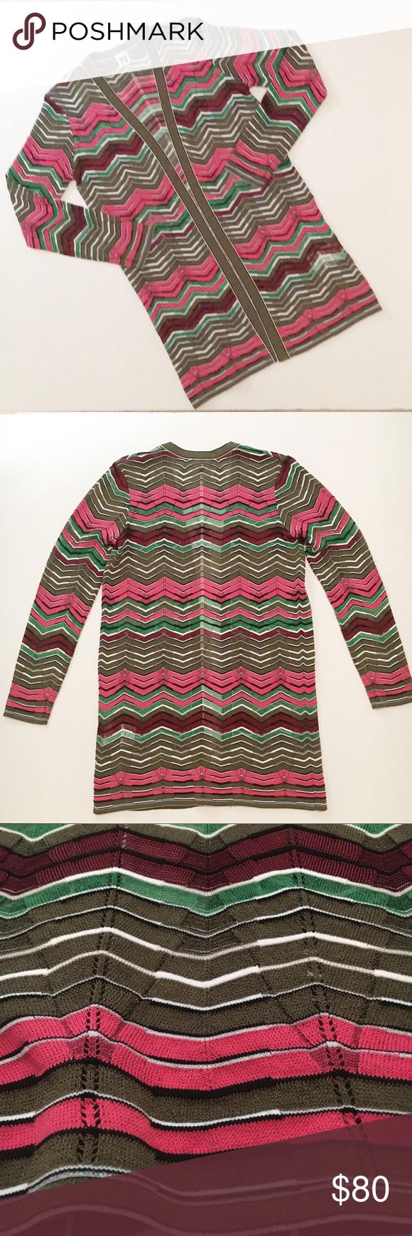 e0953fe09c NWOT M Missoni chevron cardigan sweater size M NWOT M by Missoni chevron  cardigan sweater, size 44 (M). Olive green, rose pink, burgundy, black, and  white.