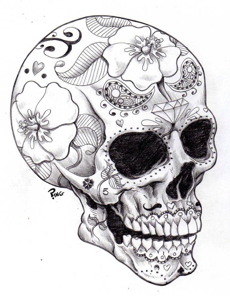 Sugar Skulls Black And White Google Search Tattoo