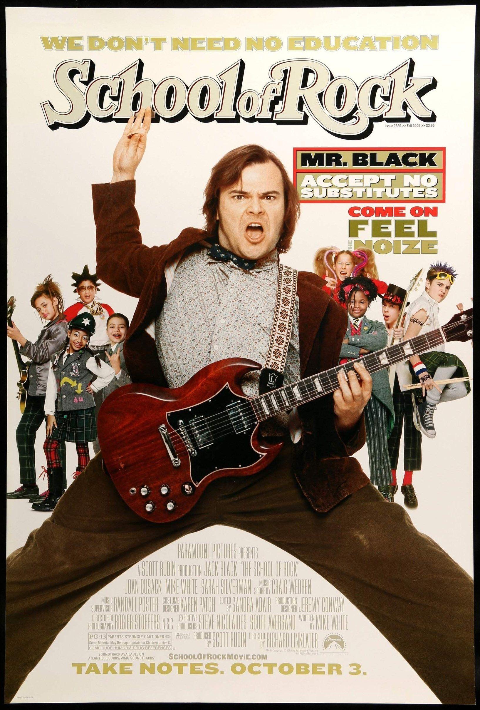 School of Rock (2003) | School of rock, Jack black, Movie posters