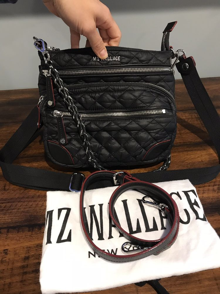 MZ Wallace Downtown Crosby Black Quilted Crossbody Bag Preowned ... ecfc15342b6c3