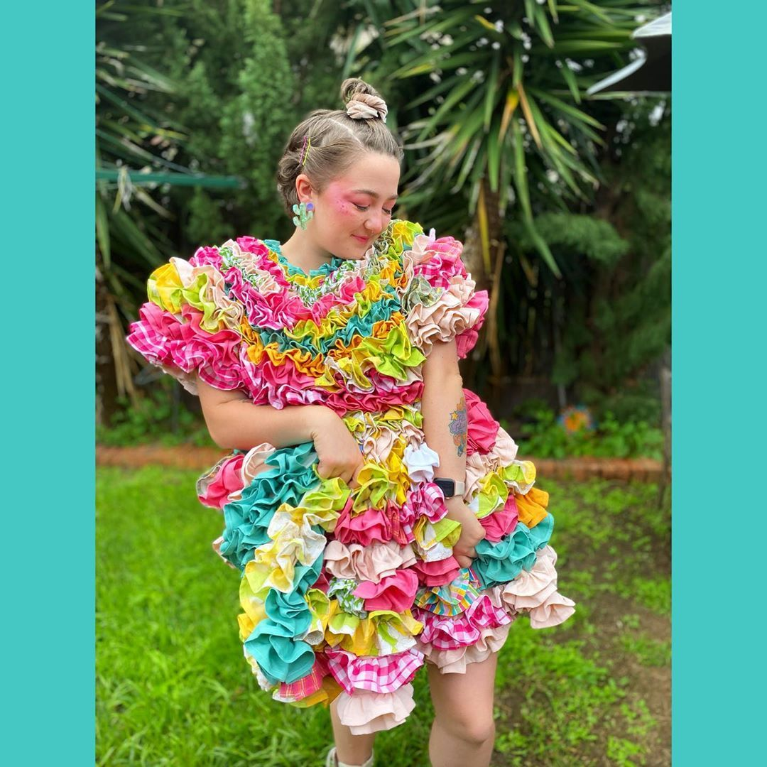 "@amarantazephyr's Instagram profile post: ""Spending iso covered in ruffles✨🌸🌿🧁 Made by me using scrap fabric 🌈 Inspired by @imakestagram  #ruffledress #madebyme #rabaacreation…"""