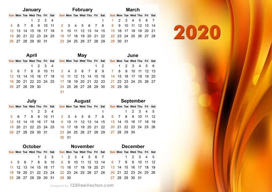 2020 Vector Abstract Orange Calendar Design Calendar Design Free Business Card Templates Calendar