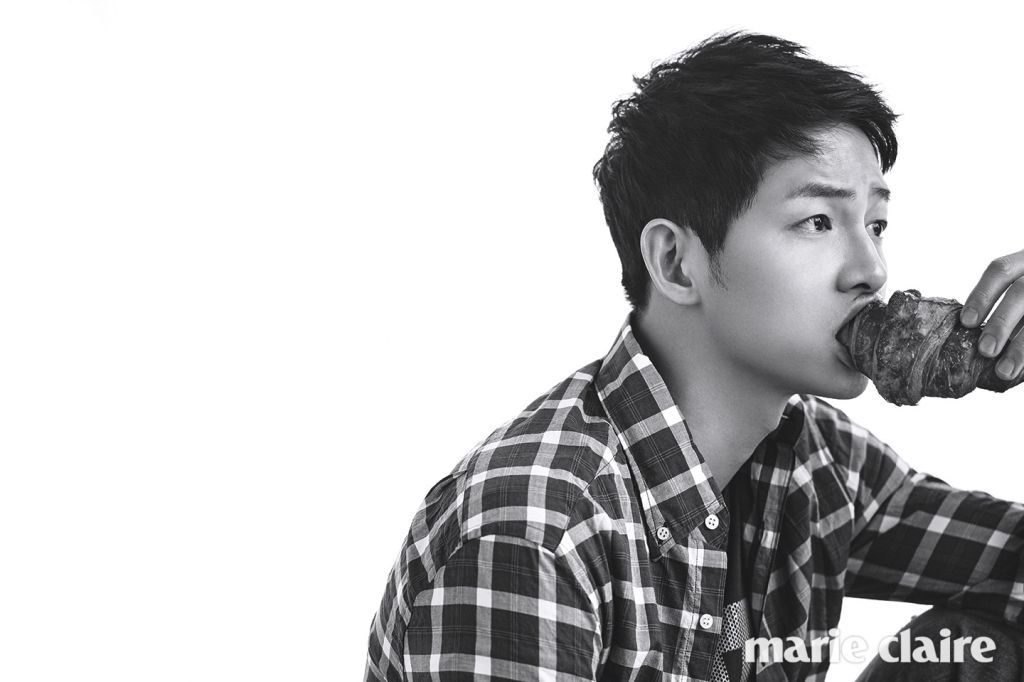 Song Joong Ki the Puppy Playing with a Puppy in Marie Claire's June Edition…