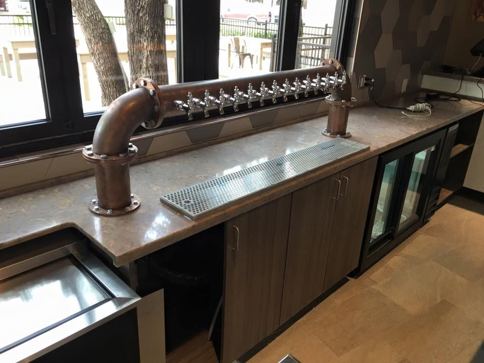 Look At The Bar Countertop For Chisos Grill We Just Completed Outside Of  Austin In Wilsonart Mehndi Quartz!