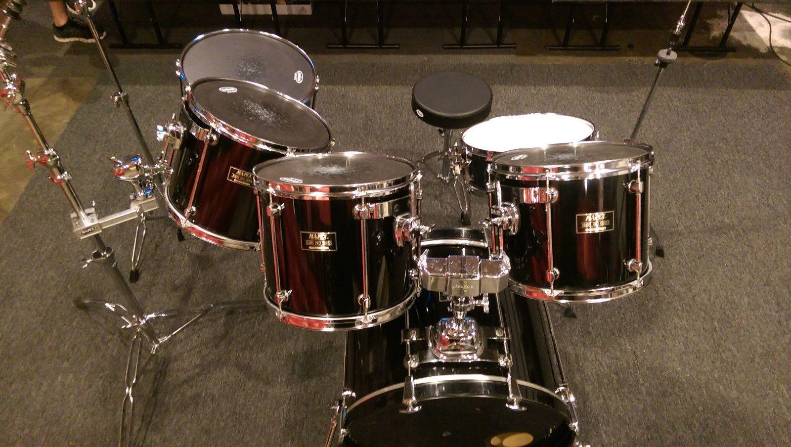 MAPEX MARS PRO SERIES DRUM SET 6 Piece Black Lacquer Drum Kit Including Two